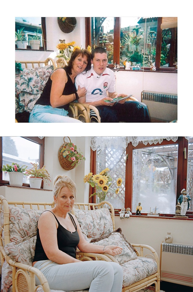 CAROLINE MUNDAY from Coleshill, Worcestershire, lost her son, Trooper James Munday, serving in the Household Cavalry Regiment when he was killed driving a jackal, in Helmand Province, Afghanistan on 15th October 2008. He was 21. Before: Caroline and her son James at Caroline's parents' house, April 2005, Coleshill, Warwickshire. After: Same location, April 2013. To make a donation to the Household Cavalry Foundation please go to www.hcavfoundation.org